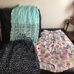 Lot/3 Long Skirts/ High low/ Floral/ Lace